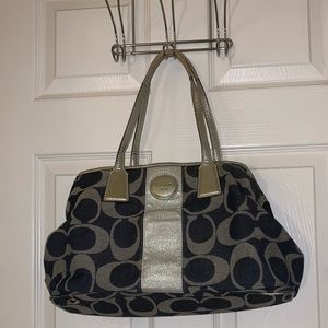 Authentic Coach Purse (denim, blue, sparkly silver